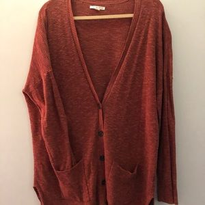 Red Oversized Buttoned Cardigan - American Eagle